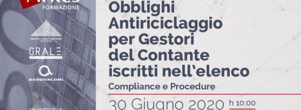 WEBINAR ANTIRICICLAGGIO – 30 GIUGNO 2020